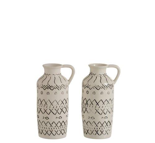 J -Line Bottle Vase Jug Ethnic High Ceramic White - Black