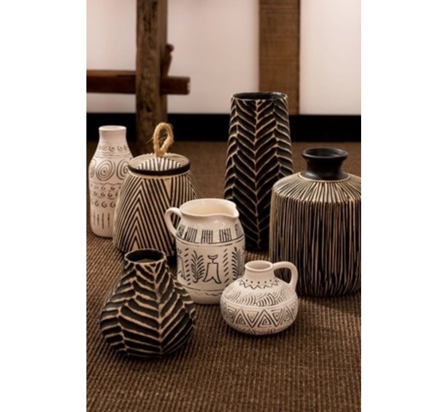 Bottle Vase Jug Ethnic High Ceramic White - Black