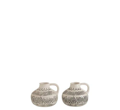 J -Line Bottle Vase Jug Ethnic Low Ceramic White - Black