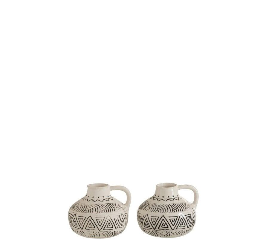 Bottle Vase Jug Ethnic Low Ceramic White - Black