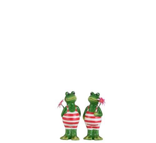 J -Line Decoratie Twee Kikkers Badpak Bloem Groen Roze - Small