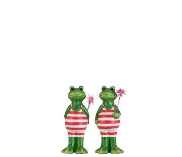 J -Line Decoratie Twee Kikkers Badpak Bloem Groen Roze - Medium
