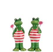 J -Line Decoration Two Frogs Swimsuit Flower Green Pink - Large