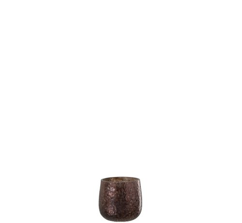 J -Line Tealight Holder Hammered Glass Shiny Brown - Small