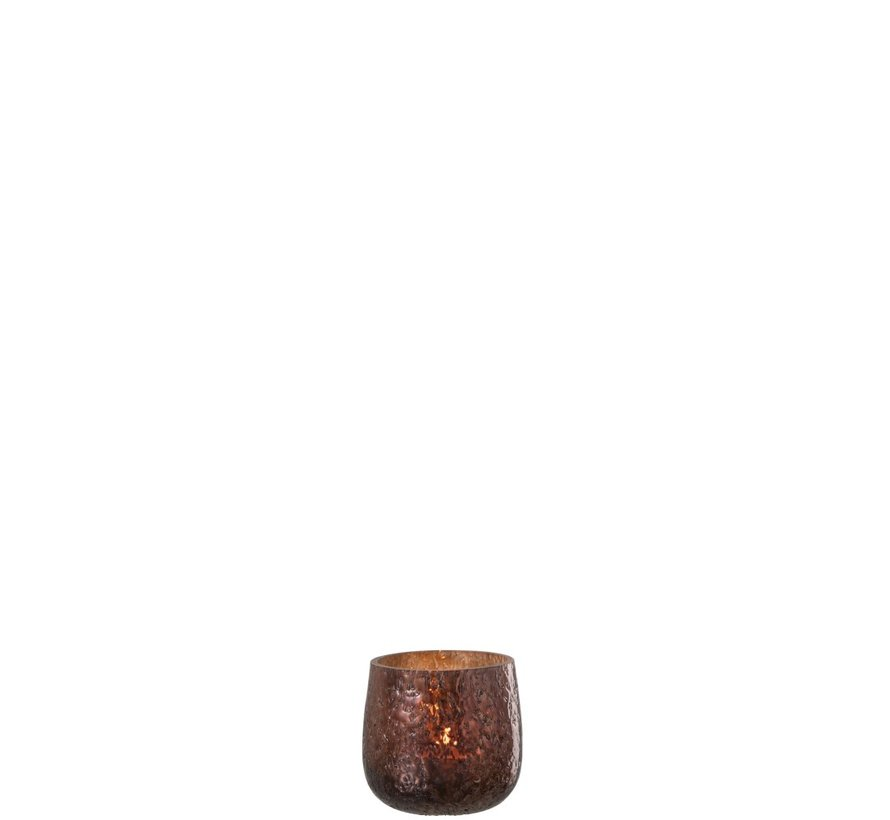Tealight Holder Hammered Glass Shiny Brown - Small