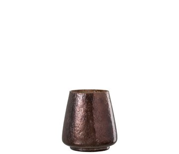 J -Line Tealight Holder Hammered Glass Conical Shiny Brown - Small