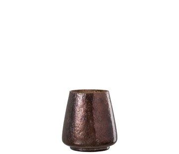 J-Line Theelichthouder Gehamerd Glas Conisch Blinkend Bruin - Small