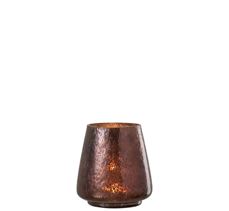 Tealight Holder Hammered Glass Conical Shiny Brown - Small