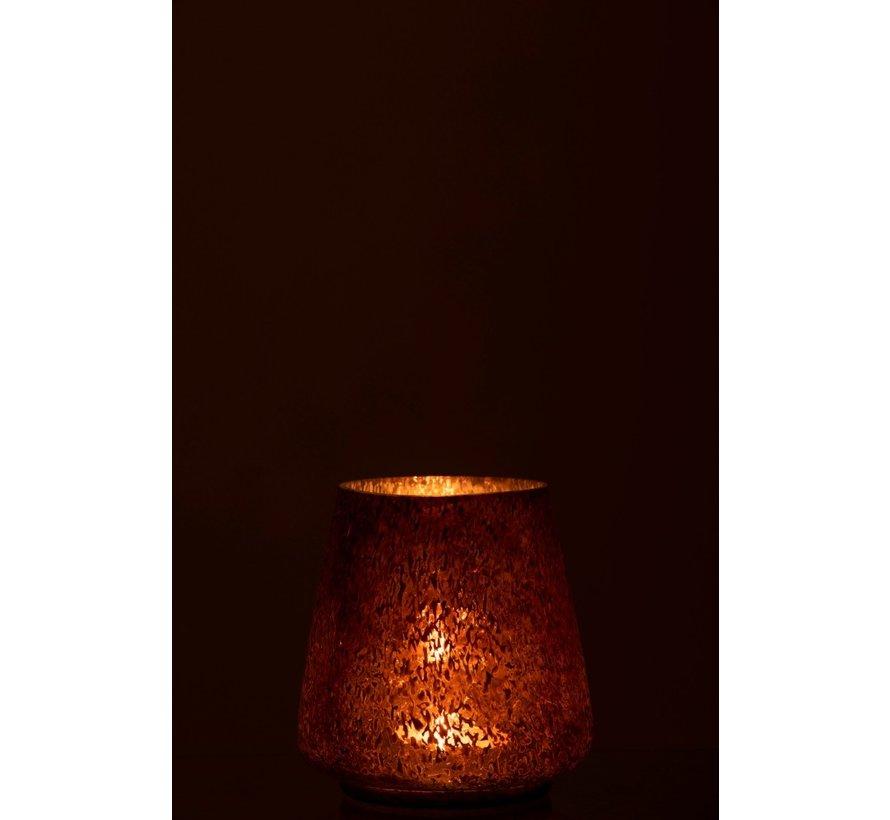 Theelichthouder Gehamerd Glas Conisch Blinkend Bruin - Small