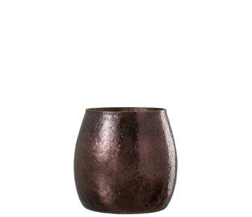 J-Line Theelichthouder Gehamerd Glas Conisch Blinkend Bruin - Large