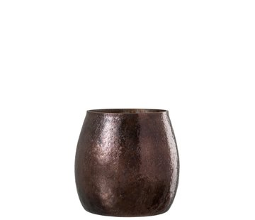 J -Line Theelichthouder Gehamerd Glas Conisch Blinkend Bruin - Large