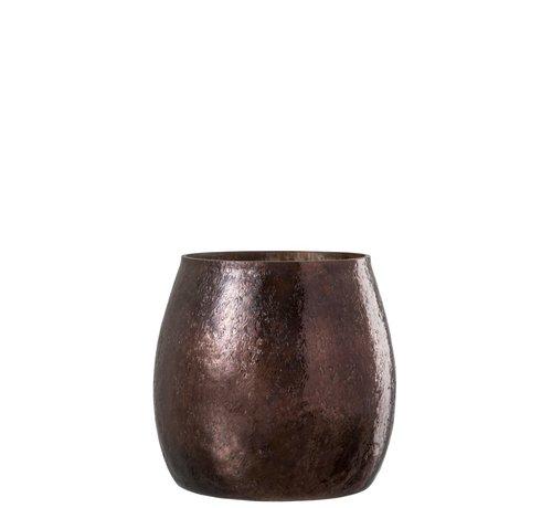 J -Line Tealight Holder Hammered Glass Conical Shiny Brown - Large
