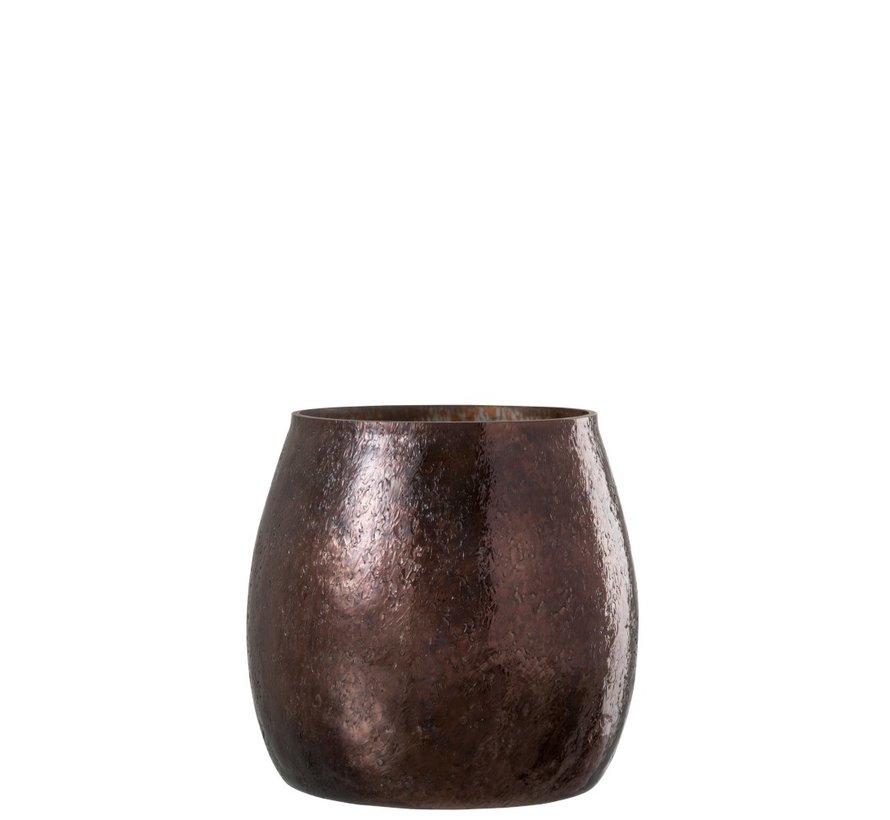 Tealight Holder Hammered Glass Conical Shiny Brown - Large