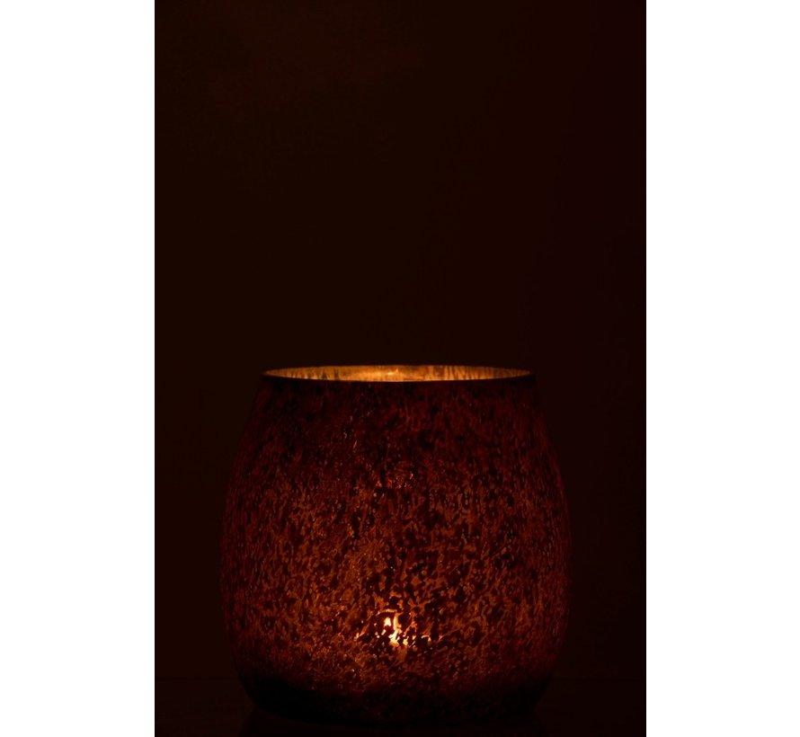 Theelichthouder Gehamerd Glas Conisch Blinkend Bruin - Large