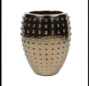 Pot & Vaas Flower Pot Pottery Round Uneven Gold - Medium