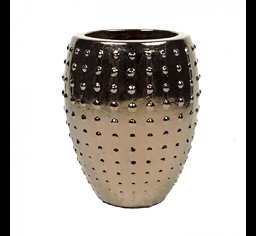 Flower Pot Pottery Round Uneven Gold - Medium