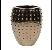 Pot & Vaas Flower Pot Pottery Round Uneven Gold - Large