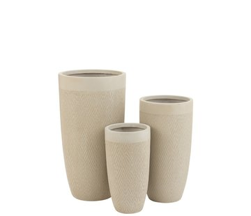 J -Line Flower Pots High Ceramic Pottery - Beige