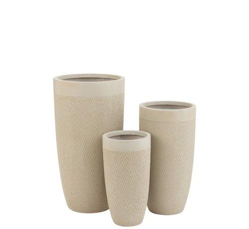 J -Line Flower Pots High Ceramic Pottery - Beige