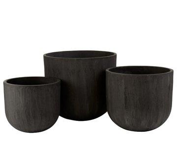 J-Line Flower Pots High Round Ceramic Pottery - Black