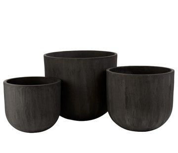 J -Line Flower Pots High Round Ceramic Pottery - Black