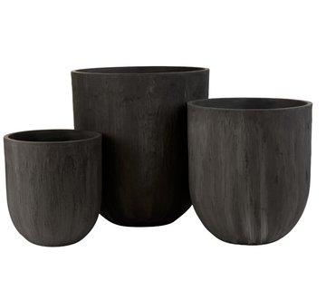 J-Line Flower Pots Extra High Ceramic Pottery - Black