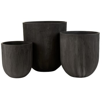 J -Line Flower Pots Extra High Ceramic Pottery - Black