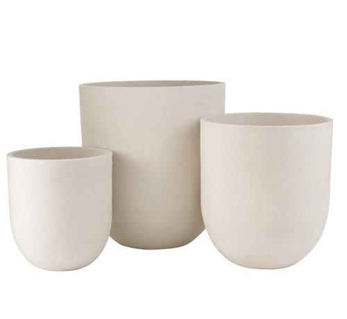 J -Line Flower Pots Extra High Ceramic Pottery - White