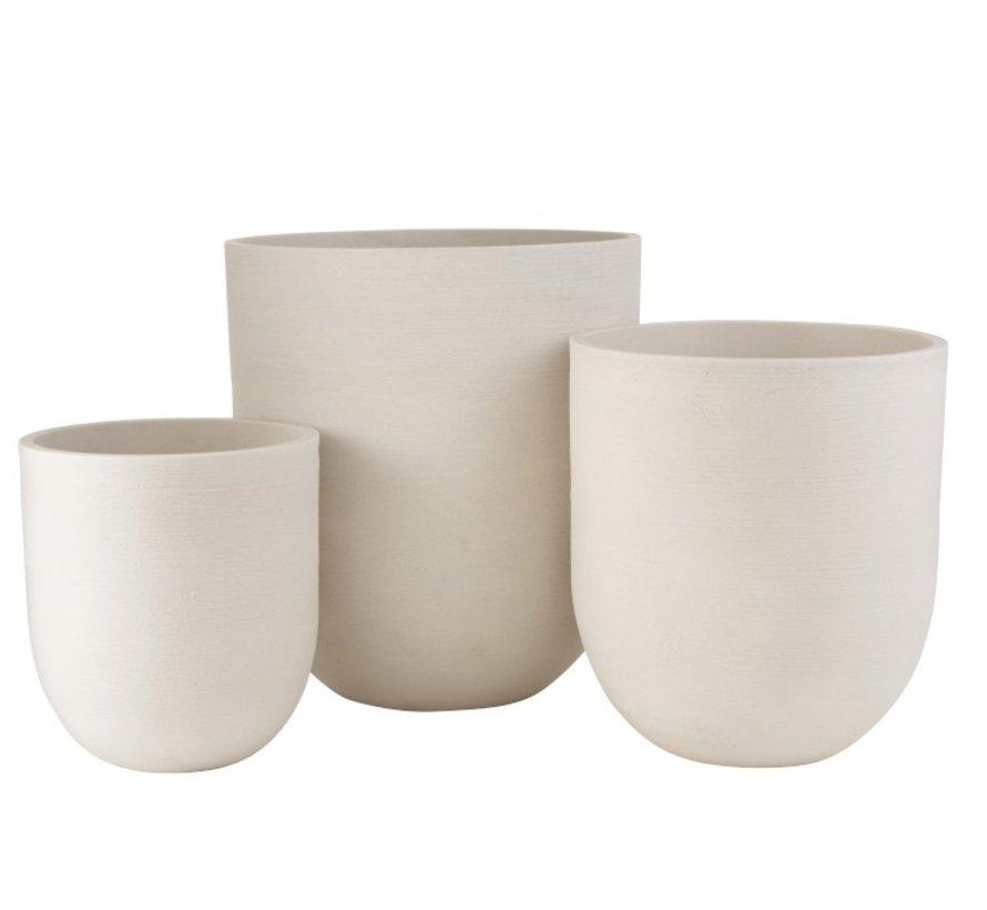 Flower Pots Extra High Ceramic Pottery - White