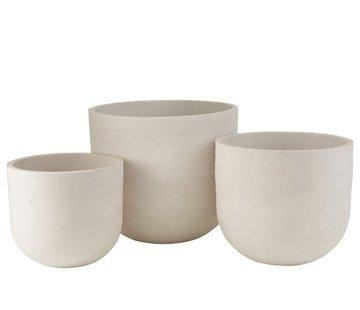 J-Line Flower Pots High Round Ceramic Pottery - White