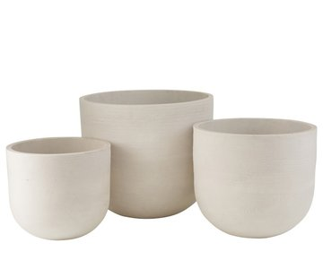 J -Line Flower Pots High Round Ceramic Pottery - White