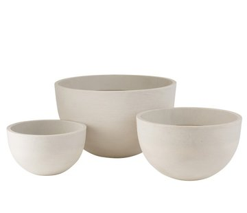 J -Line Flower Pots Low Round Ceramic Pottery - White