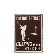 J-Line Wall decoration Plate Golfing Metal White - Brown