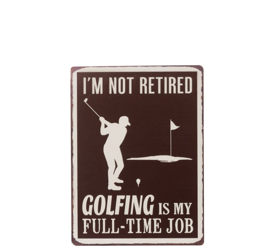Wall decoration Plate Golfing Metal White - Brown