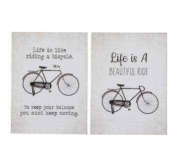 J-Line Wall Decoration Plates Bicycles Metal White - Black