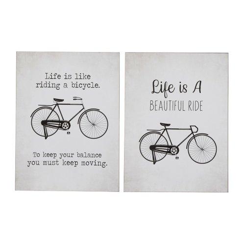 J -Line Wall Decoration Plates Bicycles Metal White - Black