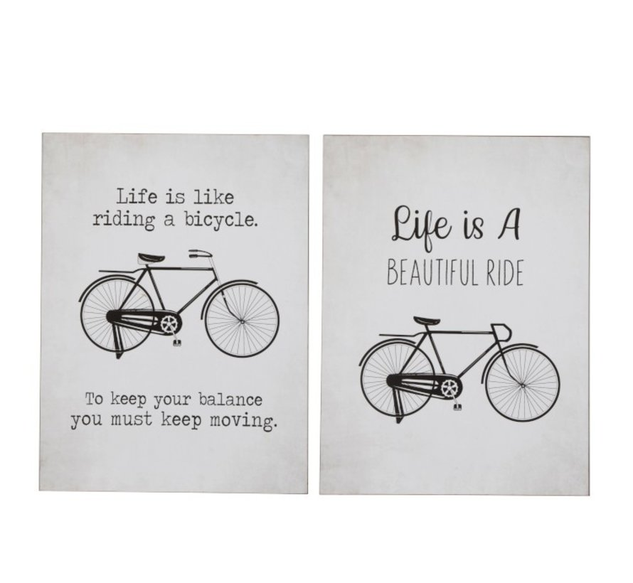 Wall Decoration Plates Bicycles Metal White - Black