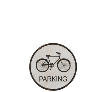 J -Line Wall Decoration Plate Round Bicycle Metal White - Black