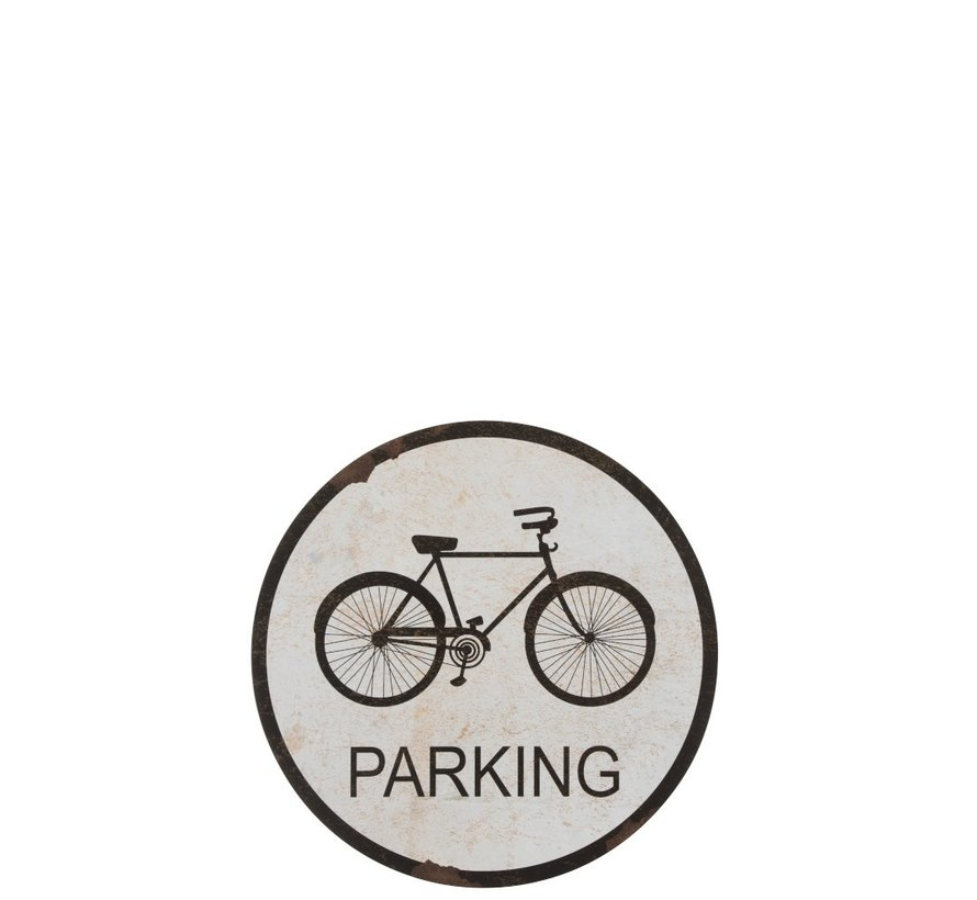 Wall Decoration Plate Round Bicycle Metal White - Black