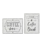 J -Line Wanddecoratie Borden Coffee Metaal Wit - Zwart