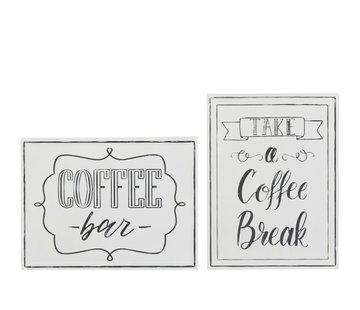 J-Line Wanddecoratie Borden Coffee Metaal Wit - Zwart