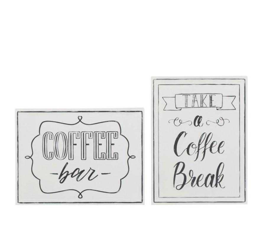 Wall Decoration Plates Coffee Metal White - Black