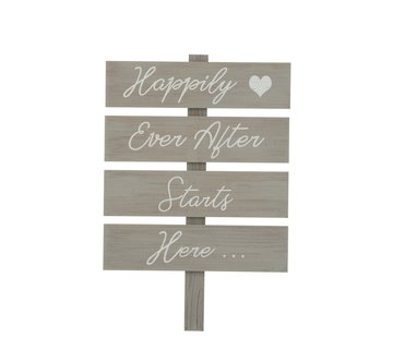 J -Line Decoration Sign Happy Text Wood - Gray