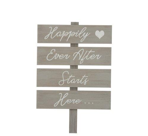 J-Line Decoration Sign Happy Text Wood - Gray
