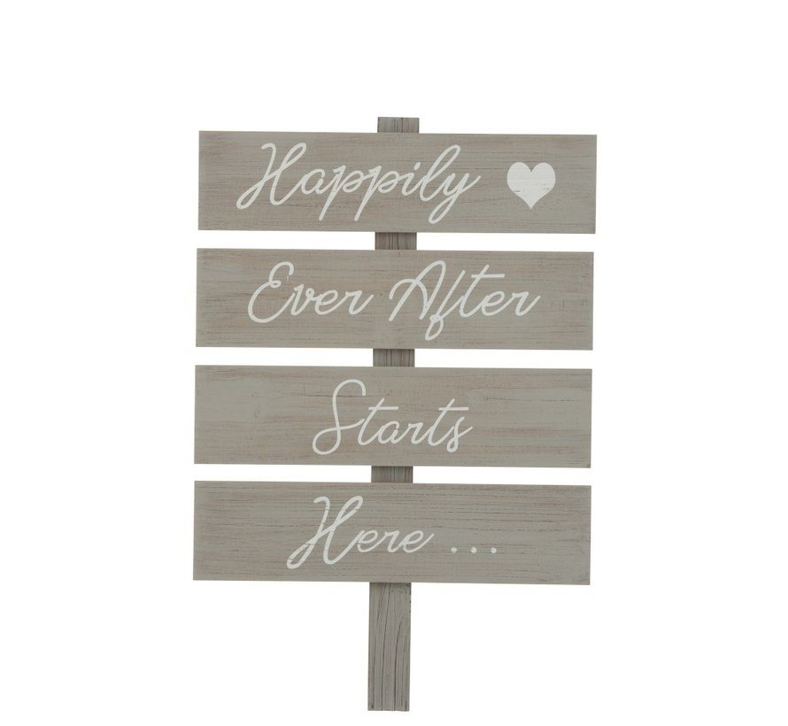 Decoration Sign Happy Text Wood - Gray