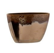 J -Line Flower Pot Oval Overflow Ceramic Brown - Small