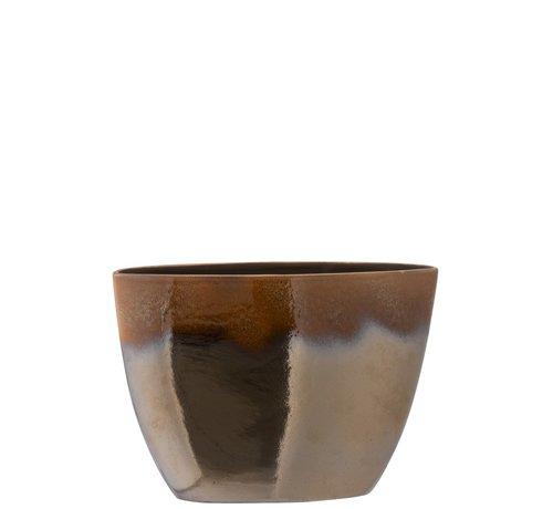 J -Line Flower Pot Oval Overflow Ceramic Brown - Large