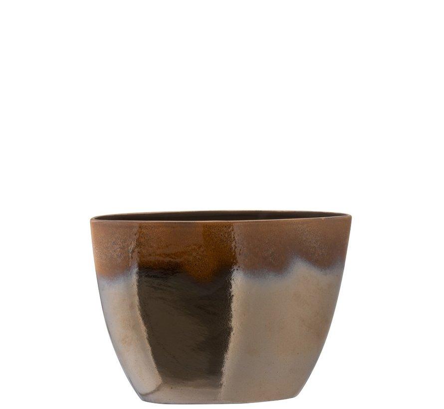 Flower Pot Oval Overflow Ceramic Brown - Large