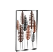 J -Line Wall decoration Eight Leaves Metal Black Brown - Red