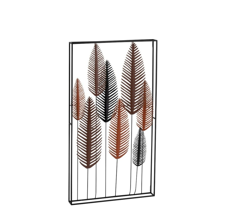 Wall decoration Eight Leaves Metal Black Brown - Red